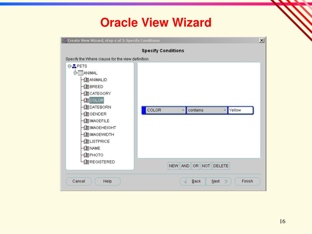 Oracle View Wizard