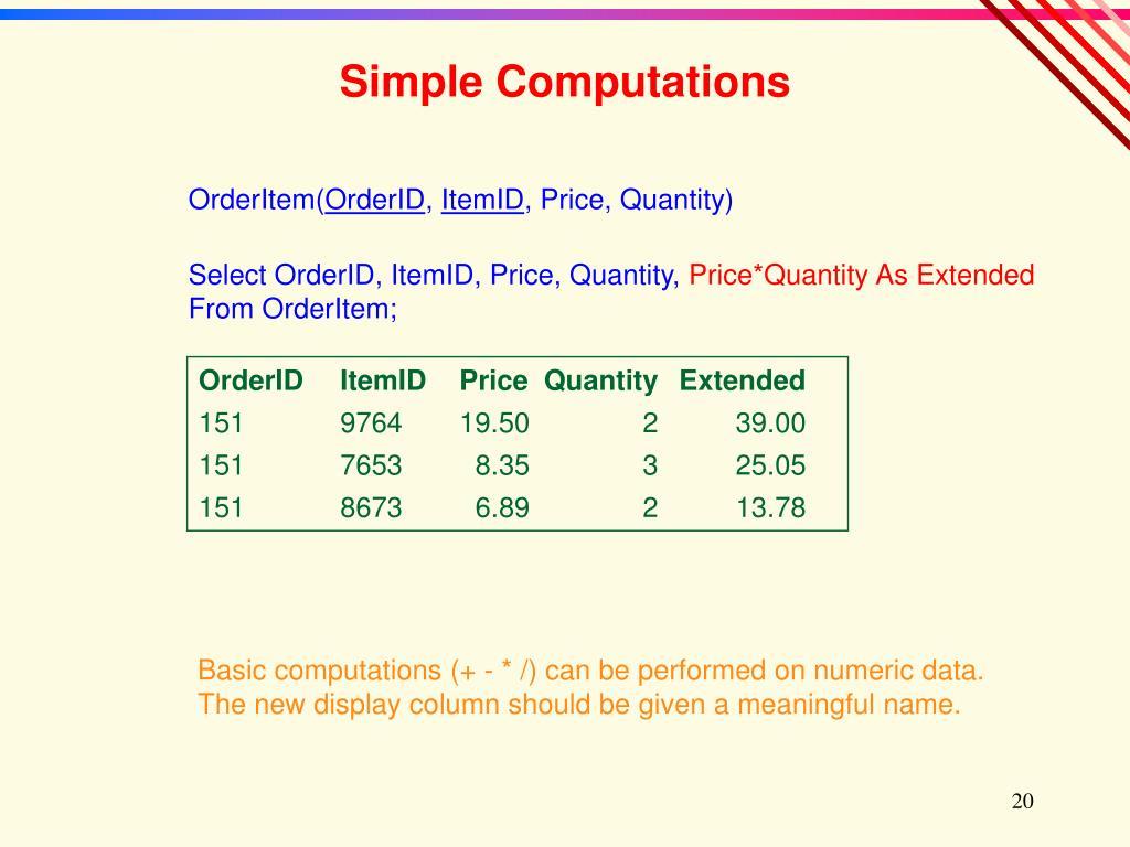 Simple Computations