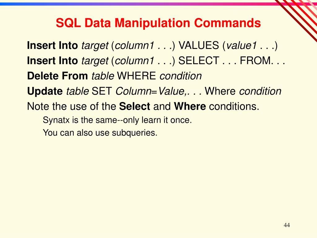 SQL Data Manipulation Commands