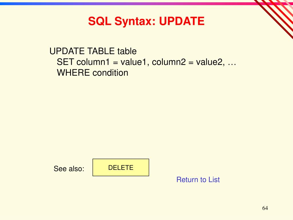 SQL Syntax: UPDATE