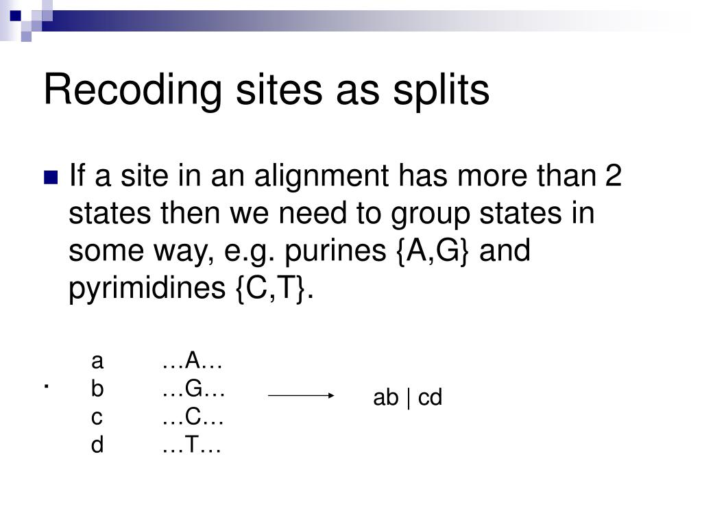 Recoding sites as splits