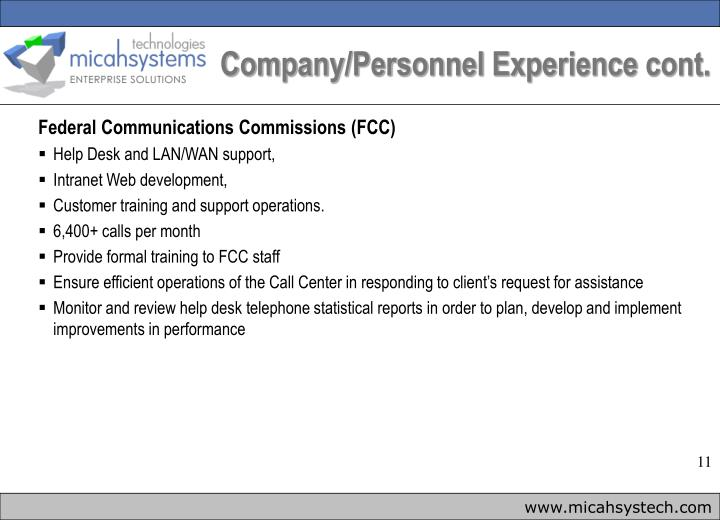 Company/Personnel Experience cont.