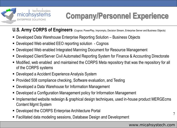 Company/Personnel Experience