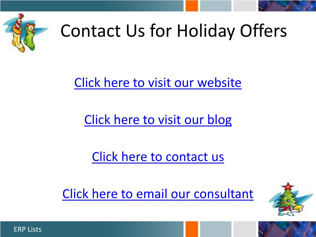 Contact Us for Holiday Offers