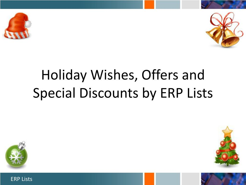 Holiday Wishes, Offers and Special Discounts by ERP Lists