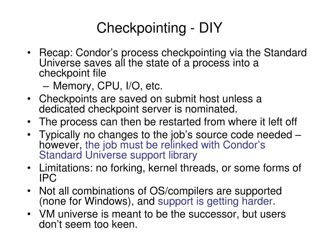 Checkpointing - DIY