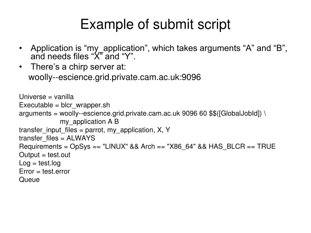 Example of submit script