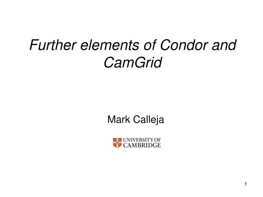 Further elements of Condor and CamGrid
