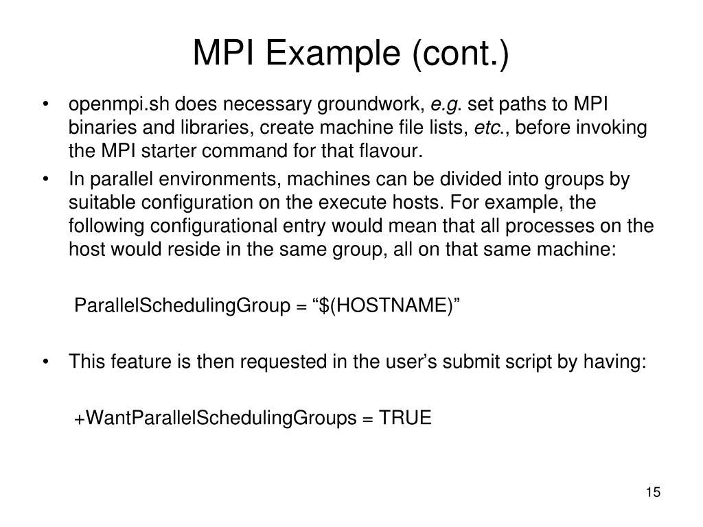 MPI Example (cont.)