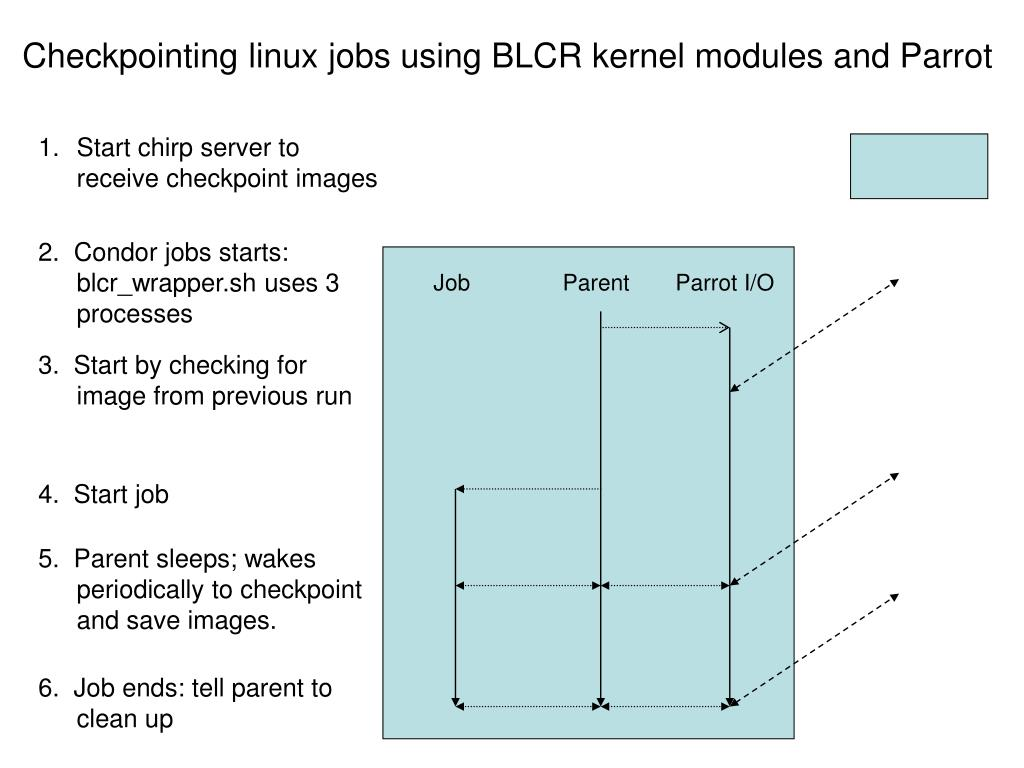 Checkpointing linux jobs using BLCR kernel modules and Parrot
