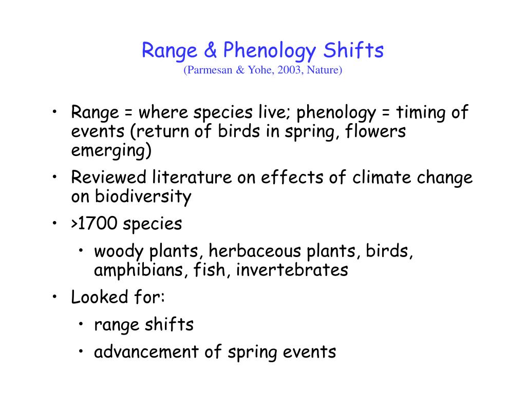 Range & Phenology Shifts