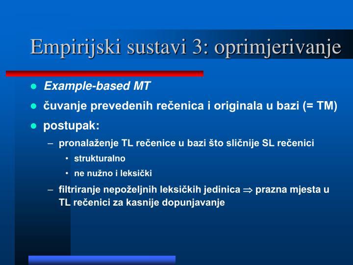 Empirijski sustavi 3: oprimjerivanje
