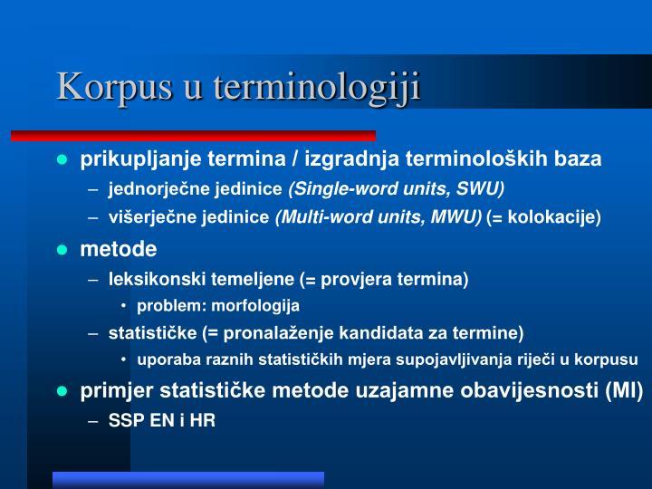 Korpus u terminologiji