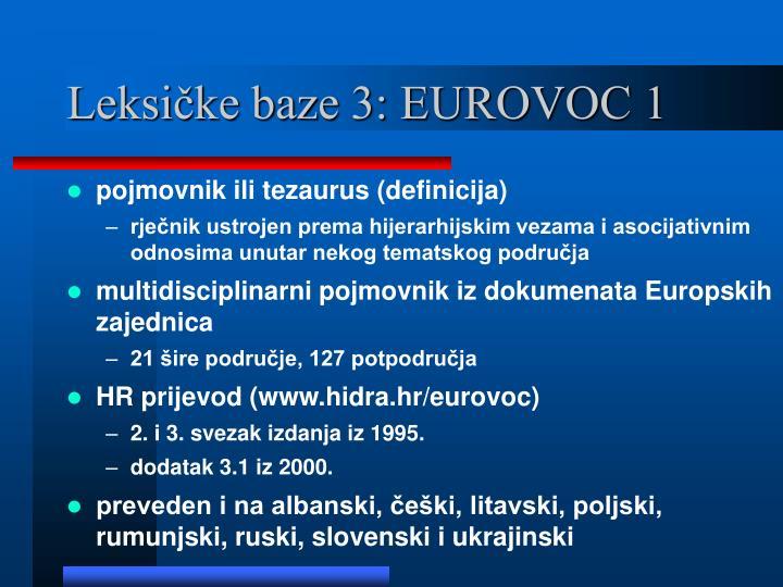 Leksičke baze 3: EUROVOC 1