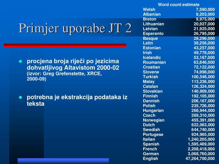 Primjer uporabe JT 2