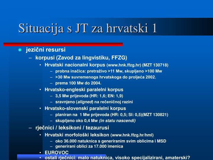 Situacija s JT za hrvatski 1