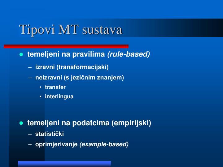 Tipovi MT sustava