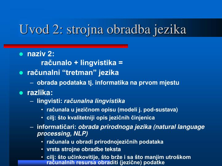 Uvod 2: strojna obradba jezika