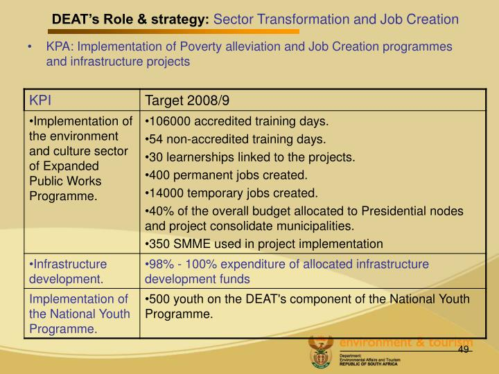 DEAT's Role & strategy: