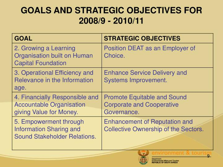 GOALS AND STRATEGIC OBJECTIVES FOR 2008/9 - 2010/11