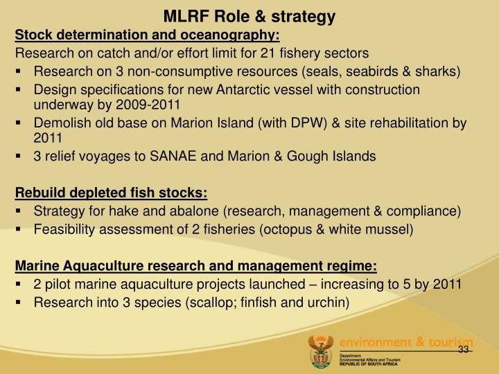 MLRF Role & strategy