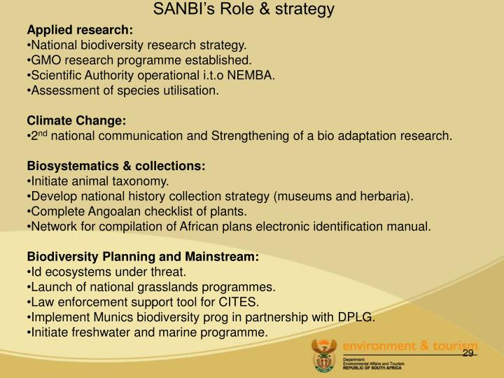 SANBI's Role & strategy