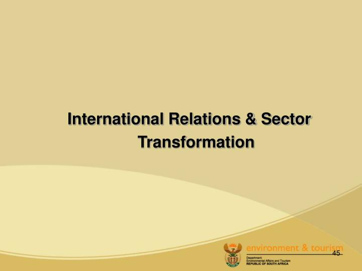 International Relations & Sector Transformation
