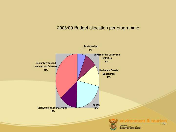 2008/09 Budget allocation per programme