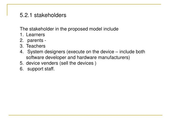 5.2.1 stakeholders