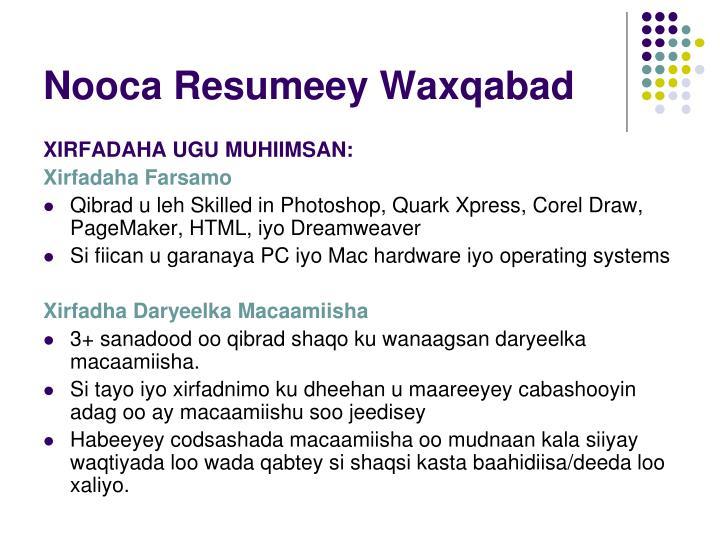 Nooca Resumeey Waxqabad