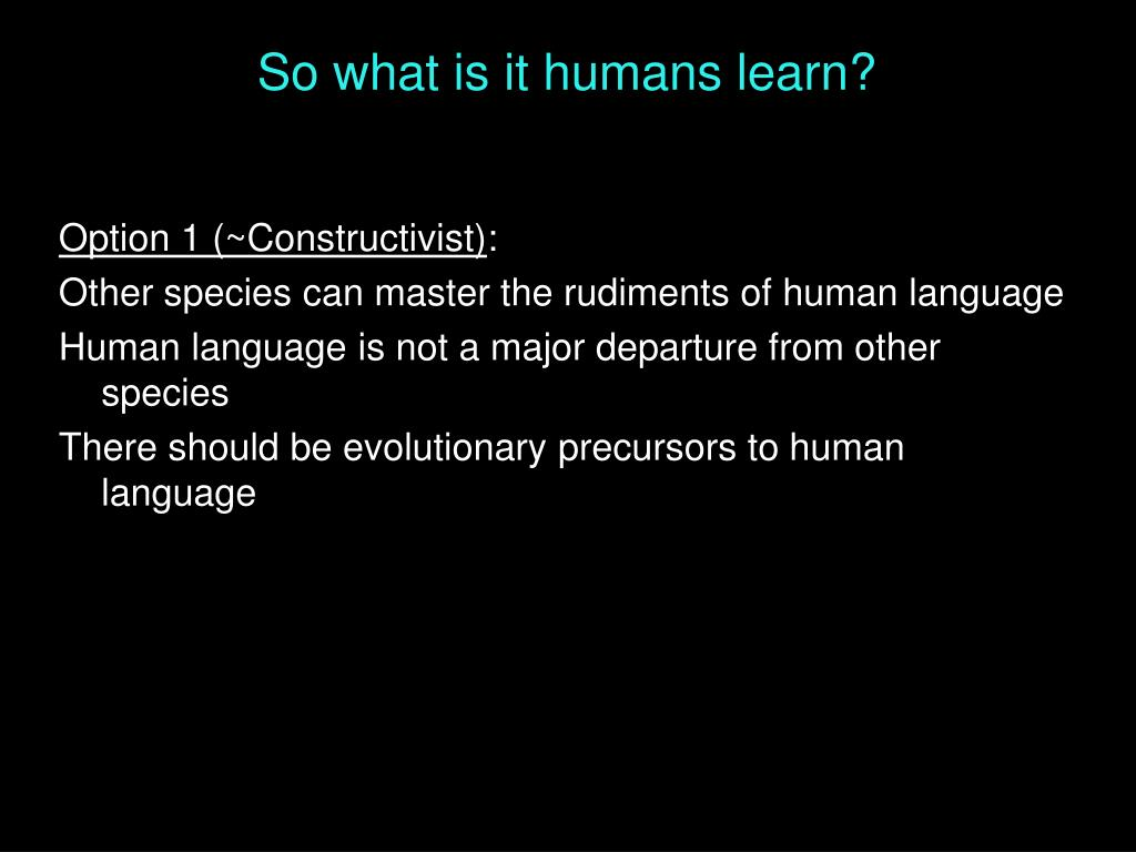 So what is it humans learn?