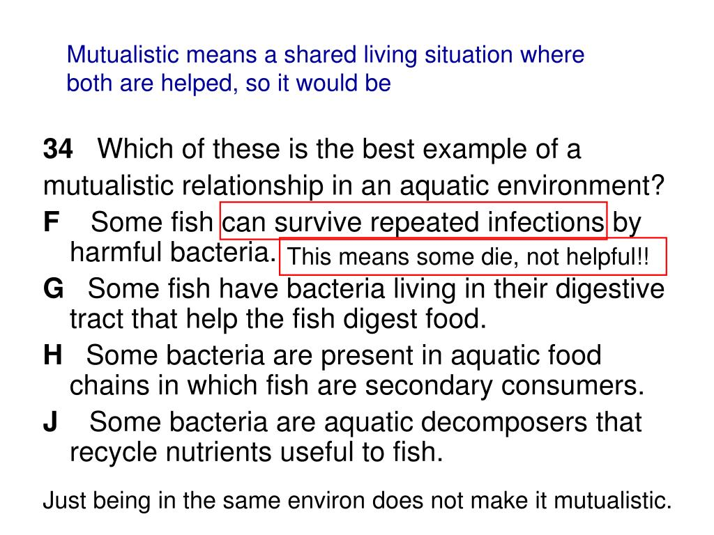 Mutualistic means a shared living situation where both are helped, so it would be