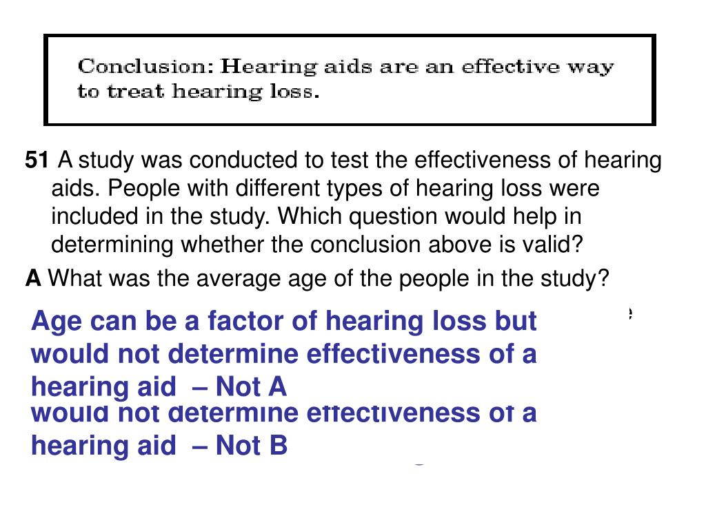 Age can be a factor of hearing loss but would not determine effectiveness of a hearing aid  – Not A