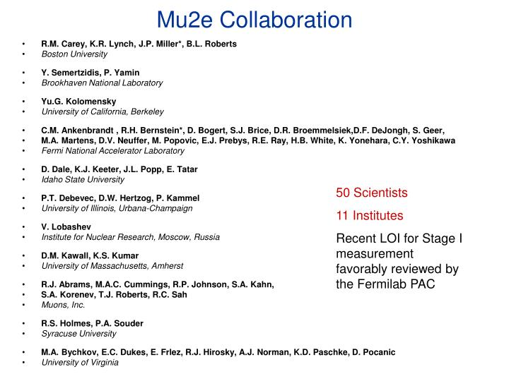 Mu2e Collaboration