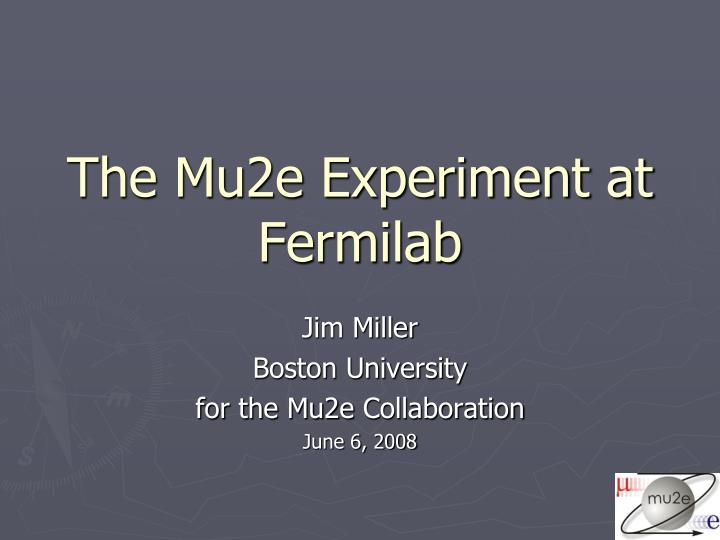 The mu2e experiment at fermilab