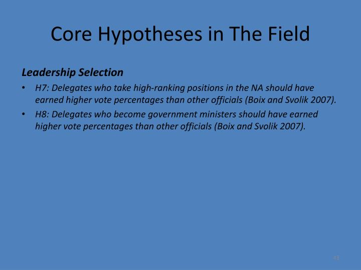 Core Hypotheses in The Field