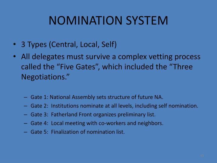 NOMINATION SYSTEM