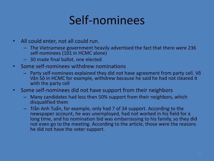 Self-nominees