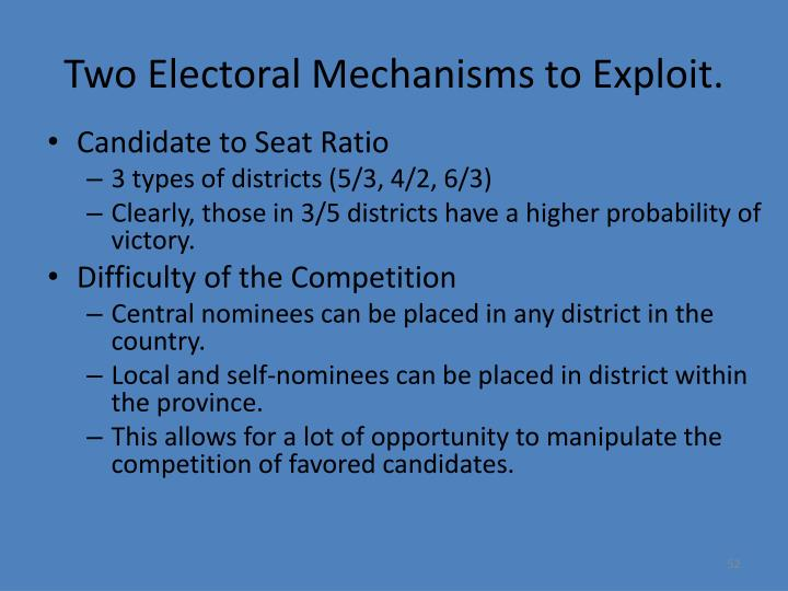 Two Electoral Mechanisms to Exploit.
