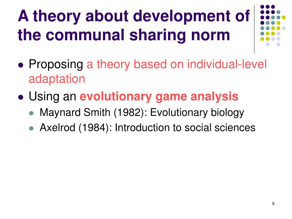 A theory about development of the communal sharing norm