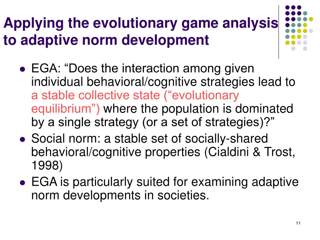 Applying the evolutionary game analysis to adaptive norm development