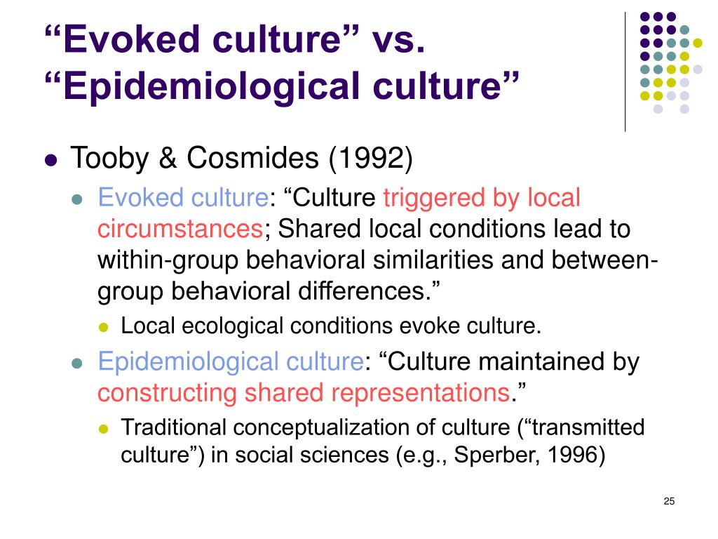 """Evoked culture"" vs. ""Epidemiological culture"""