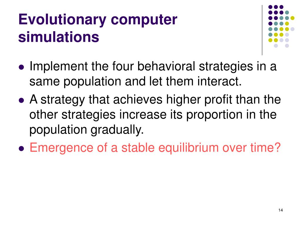 Evolutionary computer simulations