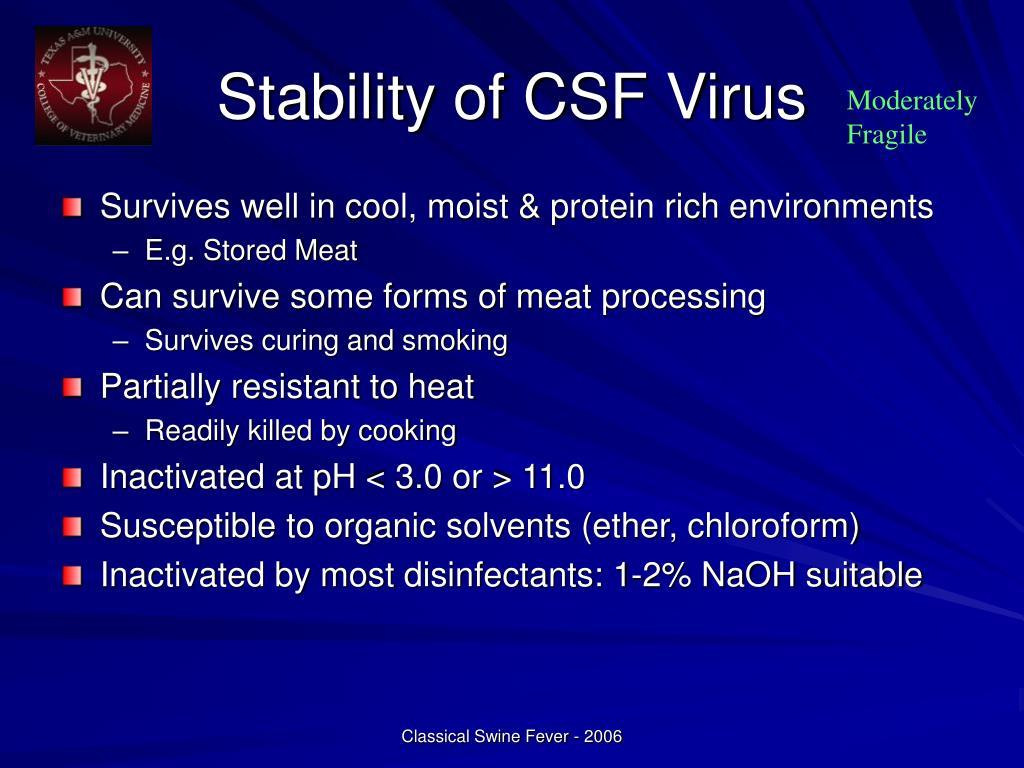 Stability of CSF Virus