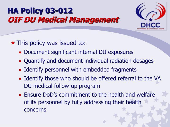 HA Policy 03-012