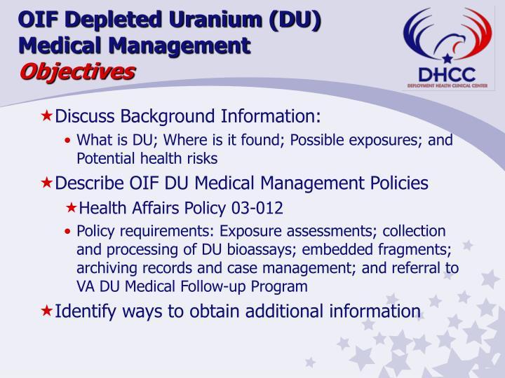 OIF Depleted Uranium (DU)