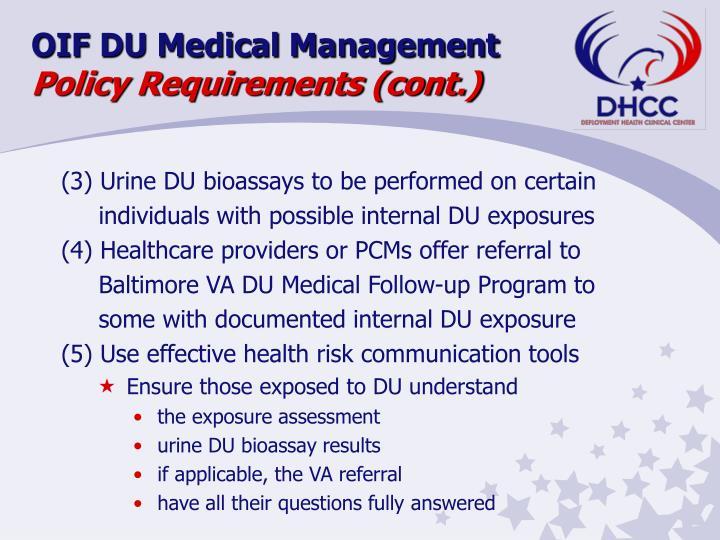 OIF DU Medical Management
