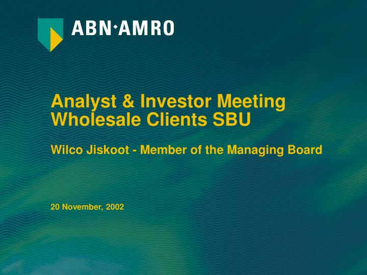 Analyst investor meeting wholesale clients sbu1