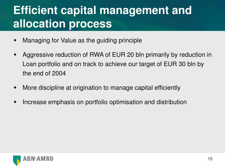 Efficient capital management and allocation process