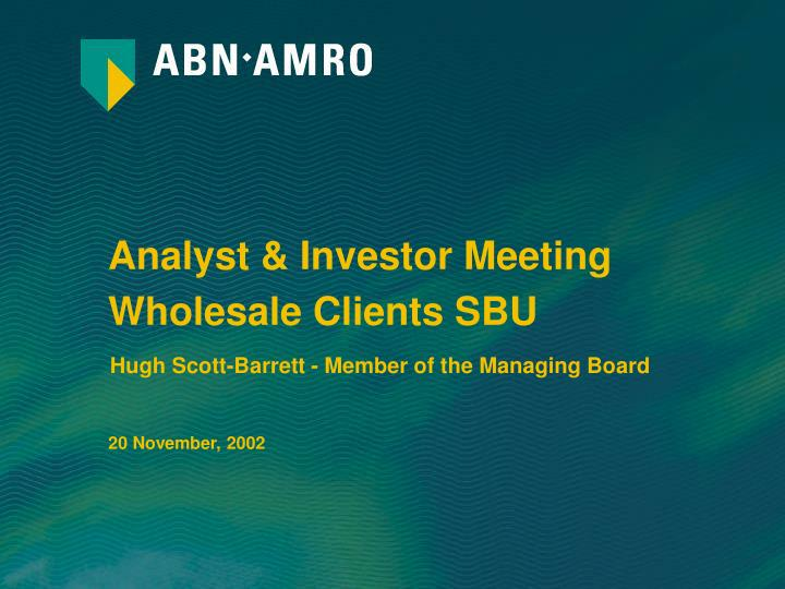 Analyst & Investor Meeting